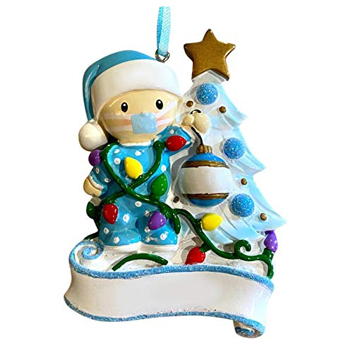 SUPERHUA Kit de adorno navideño personalizado con máscara 2020 Kit de decoración navideña familiar de superviviente de cuarentena regalo creativo