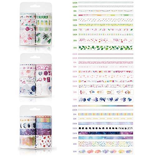 30 Rollos Washi Craft Tape, cinta adhesiva decorativa, cinta de álbum de recortes de enmascarado para manualidades DIY diseños de tarjetas de libro envoltura de regalos