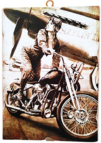 KUSTOM ART Cuadro de estilo vintage para niña en moto Harley Davidson de colección impresión sobre madera