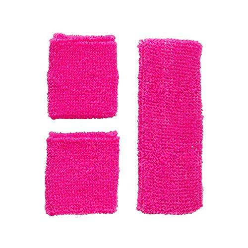 Schweißbänder Neon Stirnband Armbänder wrist wristband Schweissbänder Sport 80er, Farbe:Pink