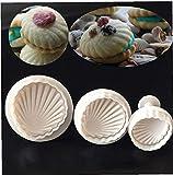 GTJF Moldes para Galletas 3 Habitaciones/Conjunto de White Sea Shell Forma Torta Molde Utility Tool 3D Fudge Silicone Cocinar Pan Pan Fudge Molde Bizuit Copa Torta Herramienta