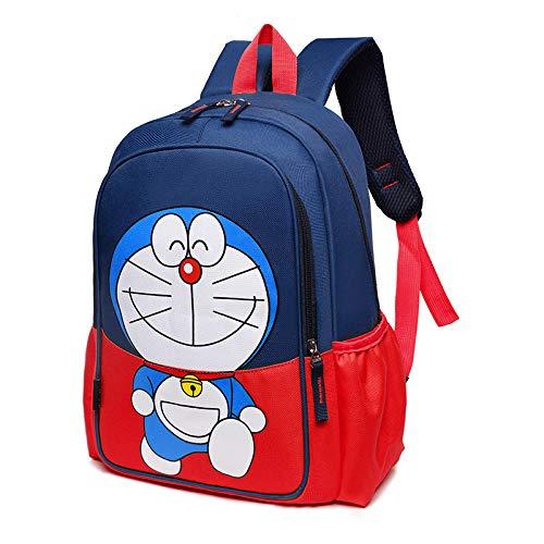 Mochilas Escolares de Nailon con Estampado de Dibujos Animados para niños Mochila de Ocio de Gran Capacidad Mochila Linda de Ocio para Campus-Doraemon Rojo