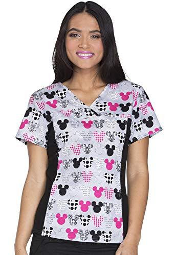 Disney Cherokee - Camiseta de punto con cuello en V para mujer, Cherokee - playera de punto con cuello en V, diseño de Minnie, XXL, Negro