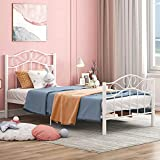 mecor Twin XL Curved Metal Bed Frame - Princess White Platform Bed Frame with Vintage Headboard Footboard - Mattress Foundation for Kids Girls Boys - White, Twin XL