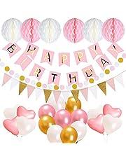 誕生日 飾り付け セット acetek 風船 花びら ガーランド 豪華28点 パーティー お祝い 紙吹雪 バルーン デコレーション ピンクとゴールド 女の子プレゼント (ピンク)