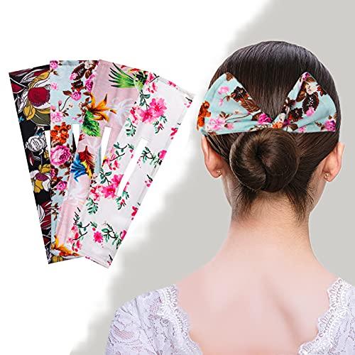 Candygirl Deft Bun Set di 4 fasce per capelli accessorio per chignon con pinza magica multicolore accessorio per l'estate di donne e ragazze