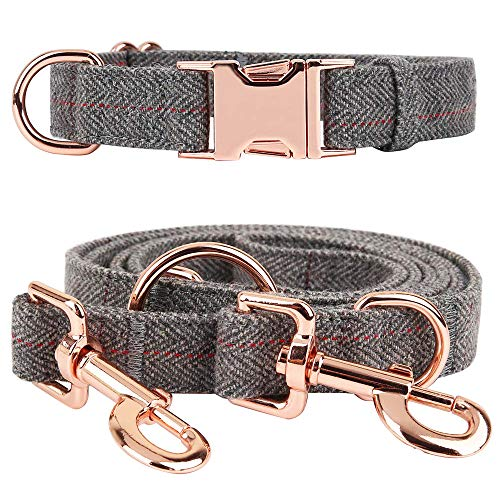 BYLEEDUR Heavy Duty Dog Collar and Leash (6.6') Set, Exceptionally Elegant with Rose Gold, 3 Adjustable Lengths & Timeless, Soft and Comfortable (M ( 13.8''-19.7'' ))