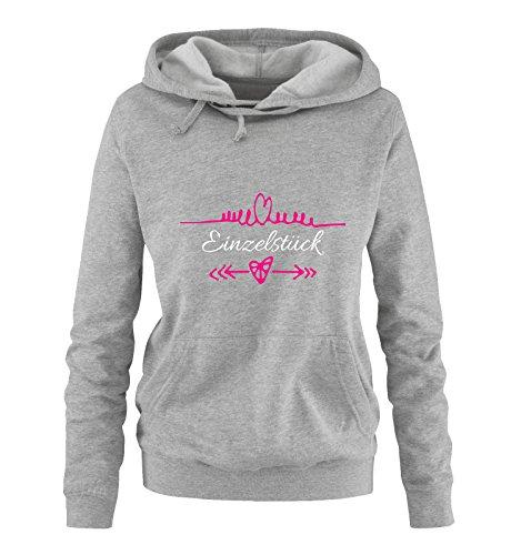 Comedy Shirts - Einzelstück - Herz Pfeile - Damen Hoodie - Grau / Weiss-Pink Gr. L