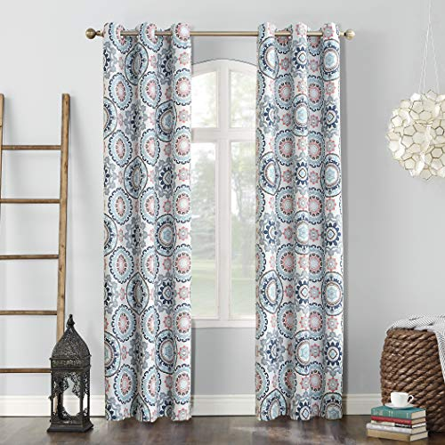 Sun Zero Nepal Global Medallion Print Blackout Grommet Curtain Panel, Stone, 40u0022 x 84u0022