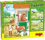 HABA 305884-Puzzles Bauernhoftierkinder, Puzzle AB 3 Jahren Puzle, Color carbón (305884)