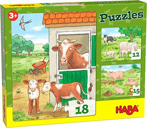 HABA 305884 - Puzzles Bauernhoftierkinder, Puzzle ab 3 Jahren