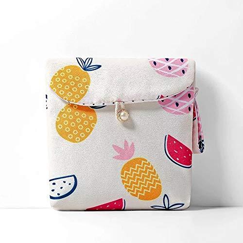 I3C Damenbinde Aufbewahrungstasche mit große Kapazität Tasche für Tampons Tampontasche Damenbinde Behälter für Damenbinde, Tücher, Lippenstift, Schlüssel, Geld, 13 * 13cm (Weiße Ananas)