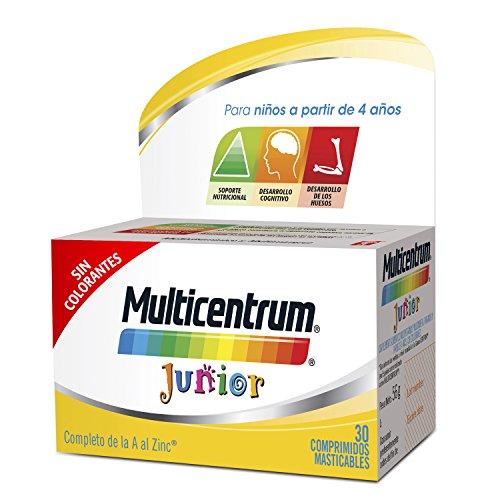 MULTICENTRUM Junior - Complemento Alimenticio con 12 Vitaminas y 4 Minerales, para Niños a partir de 4 Años, con Sabor a Fruta - 30 Comprimidos Masticables