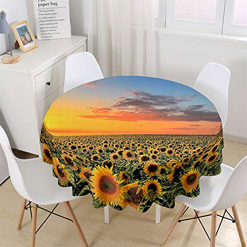 Chickwin Wasserdicht Tischdecke Runde Abwaschbar, 3D Sonnenblume Bedruckte Tischdecken,Tischtuch aus Polyester, Tischdekoration Benutzt für Küche, Esszimmer, Garten (Sonnenuntergang,150cm)