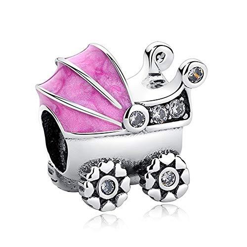 HMMJ Frauen S925 Sterling Silber Anhänger Perlen Kinderwagen-Anhänger Kompatibel mit Pandora & European Armbänder Colliers