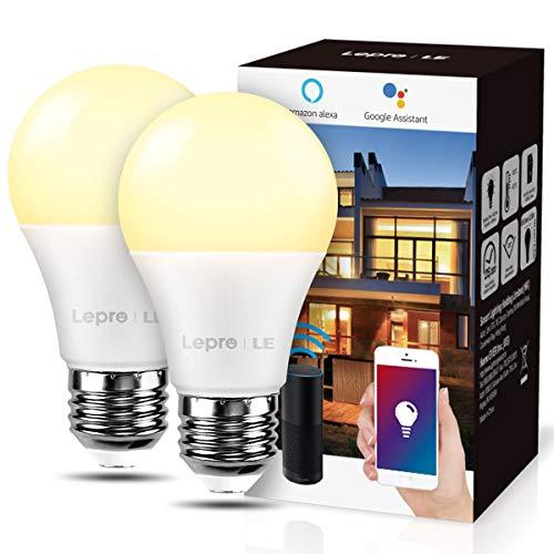 LE Żarówka E27, 9 W, Smarthome, WLAN, LED, 806 lm, inteligentne lampy domowe, przyciemniana żarówka, 2,4 GHz, przyciemniane ciepłe światło, kompatybilne z Alexa Echo, Google Home, 2 sztuki