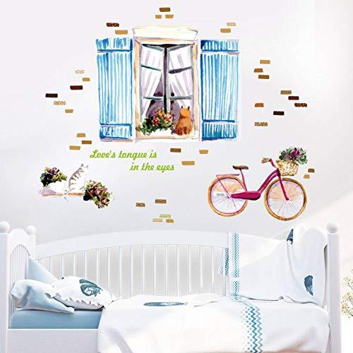 TIVOPA 3D Bande Dessinée Chat Stickers Muraux Impression Kitty Fenêtre pour Enfants Chambres Fille Bébé Chambre Salon Animal Home Decor Amovible