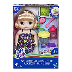 """Mix baby's favourite pretend powdered doll food with water in the blender Feed baby with the spoon Baby drinks water from her bottle """"poops and pees"""" in her nappy Comb and style baby's hair"""