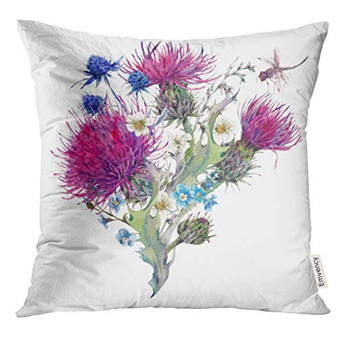 UPOOS Throw Pillow Cover Colorful Summer Natural Meadow Watercolor with Wild Flowers Thistles Dandelions Herbs Chamomile and Dragonfly Decorative Pillow Case Home Decor Square 18x18 Inches Pillowcase