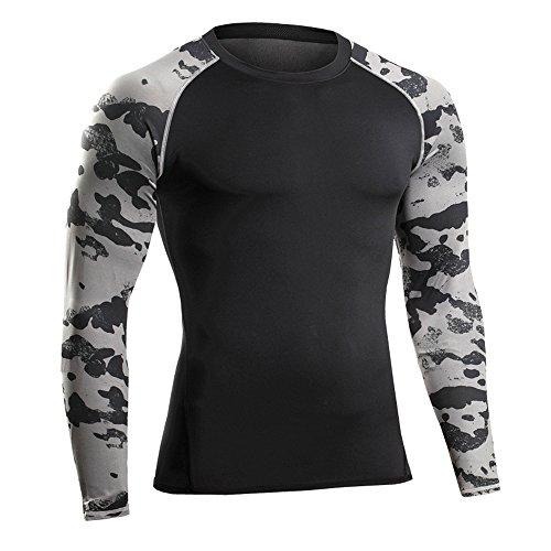 Bwiv Camiseta Hombre Deportiva Compresión Camiseta Interior Hombre Manga Larga Fitness Gimnasio...