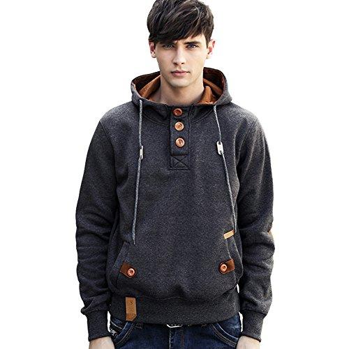 Newbestyle Frühling Herbst Sweatshirt Jungen Herren Kapuzenpullover Knöpfe Design Kapuzenpulli Hoodie