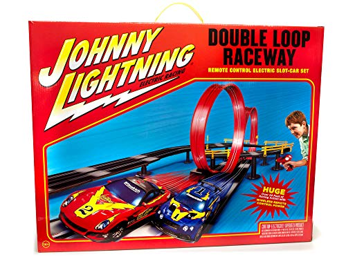 Johnny Lightning Slot Car Racing Set - Unleash Your Racing Skill on This Double Loop Race Track - 24 Foot Slot Race Track with 2 Slot Cars (1/43 Scale) and Wireless Remotes
