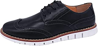 Summer Men's Business Shoes Casual Brock Shoes Oxford Lace-up Loafers Breathable Flat Leather Dress Shoes