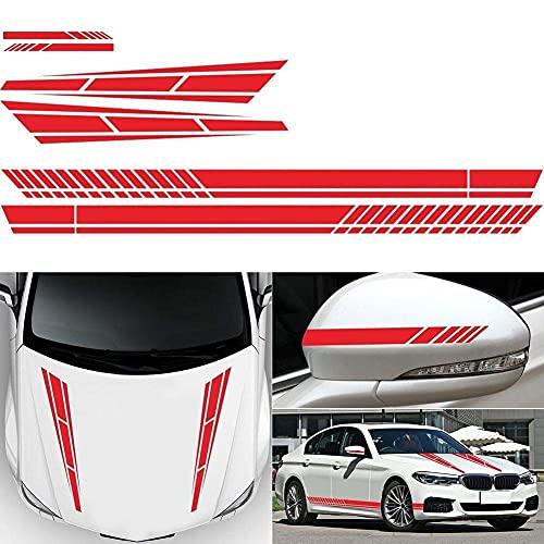 Aizhen 6 pegatinas de vinilo con diseño de rayas, para el lado del coche, para el capó del lado del coche, espejo retrovisor