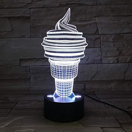 Cono de Helado Linterna Lámpara de Mesa Luces de Noche Coloridas Regalo de cumpleaños para niños Iluminación para Dormir Transporte de Gota de luz de Color