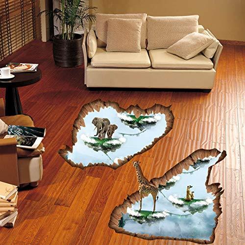 Sticker mural Animal Float Island Girafe Éléphant 3D Pour Enfants Chambres Salle De Bains Cuisine Décoration Autocollant Film