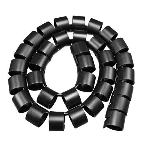 sourcing map 40mm Flexibel Spiral Rohr Kabel Draht Computer Verwalten Schnur Schwarz 1M de