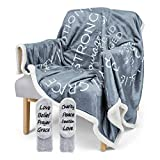Religious Throw Blanket - Soft Sherpa with Christian Theme, Bible Verse, Inspirational Thoughts of Heaven, Prayer, Scripture, Healing - Warm, Reversible, 60in x 50in, Comes with Fleece Socks (Gray)