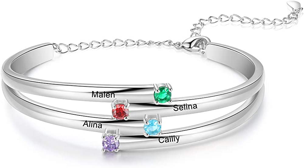 Lam Hub Fong Personalized Mothers Bangle Bracelet with 2 3 4 Simulated Birthstone Names Bracelet for Women Adjustable Relationship Promise Bracelet Jewelry Gift for Mother's Day
