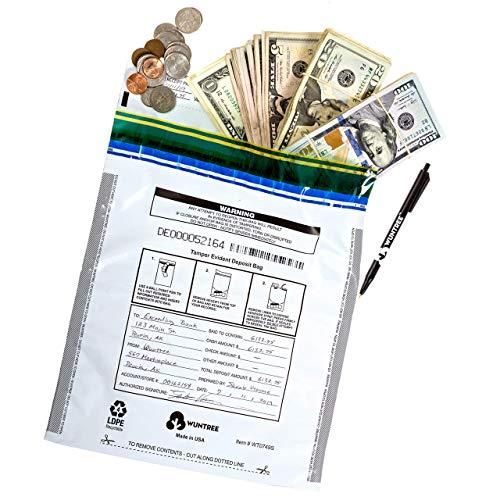 WUNTREE - Bolsas de depósito con seguridad de nivel 4, 9 x 12 pulgadas, fabricadas en Estados Unidos, Blanco