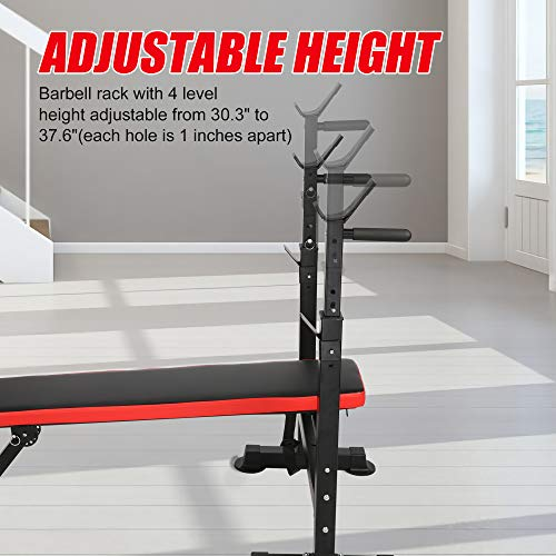 Vilobos Adjustable Weight Bench Foldable Workout Bench with Barbell Rack , Decline/ Flat Bench ,Supports to 330 Lbs,for Full Body Exercise