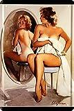 Nostalgie 1422 - Cartel de chapa (20 x 30 cm), diseño de chica pin up...