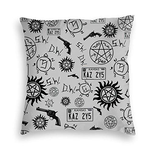 """Icemaris Supernatural Symbols Velvet Throw Pillow Cover Cushion Cover for Sofa Couch Living Room Bedroom Two Sides Printed 18"""" X18"""