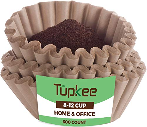 Tupkee Coffee Filters 8-12 Cups with Basket Style and Natural Brown Unbleached Coffee Filter