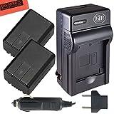 Pack of 2 VW-VBK180 Batteries and Battery Charger for Panasonic HC-V10 HC-V100 HC-V500 HC-V700 Camcorder