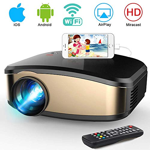 Min Home Projector 3000 Lux with 25000 Hours Lamp Life, 1-39 LED Portable Projector Support 1080P, Mini Projector Compatible with TV Stick, PS4