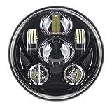 SKUNTUGUANG 5-3/4 5.75 Inch 45W LED Headlight for Harley Davidson Motorcycles Headlamp (Black)