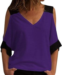HAMAMISE Tシャツ レディース 女性のステッチオフショルダーVネックトップシャツブラウス おおきいサイズ 無地 オシャレ ブラウストップス 通気 速乾 通勤 運動