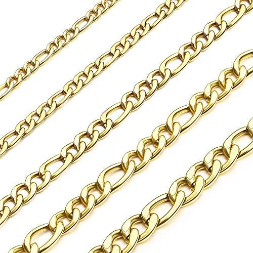 MOWOM Plata Oro Negro Color Cubano Collar de Cadena de Eslabones Acero Inoxidable para Hombre para Mujeres Niños de Figaro Delgado Cadena con Bolsa de Regalo (3.0-8.5mm Amplio, 360-910 MM Largo)