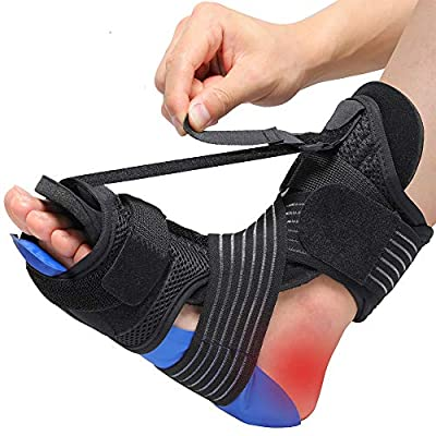Plantar Fasciitis Night Splint Ankle Brace with Cold Pack Massage Ball Elastic Band for Arch Support Achilles Tendonitis Relief