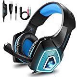 Cocoda Gaming Headset für Xbox One, Noise Cancelling Headset PS4 mit 7 Farbe RGB-LED Licht, Surround-Sound Kopfhörer PC mit Soft Memory-Ohrenschützern & 3,5mm Klinke für Mac, Laptop, Nintendo Switch