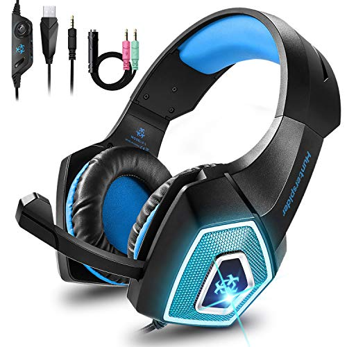 Cocoda Cascos Gaming para PS4 Nintendo Switch Xbox One, Ligero Auriculares Gaming con Luz LED & Control del Volumen & Cancelación Ruido, Diadema Ajustable Cascos con Microfono para PC Laptop Mac