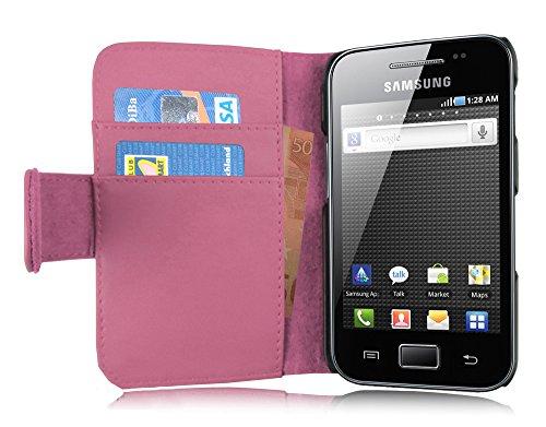 Cadorabo Hülle für Samsung Galaxy ACE 1 in ANTIK ROSA – Handyhülle aus glattem Kunstleder mit Standfunktion & Kartenfach – Hülle Cover Schutzhülle Etui Tasche Book Klapp Style