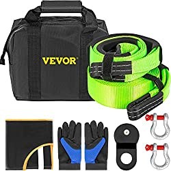 VEVOR Winch Recovery Kit, 100% Nylon & Forged Steel Snatch Block Kit with 3x20' Towing Strap + 3x8' Tree Saver Strap & 2 D-Ring Shackles of 58000 LBS/26308 KG Each, Off Road Recovery Gear 8PCS