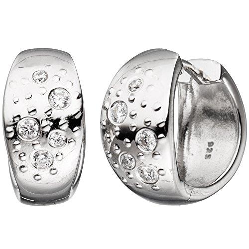 JOBO Damen-Creolen breit aus 925 Silber mit Zirkonia