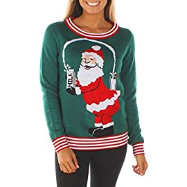 """Women's Break The Internet Ugly Christmas Sweater - Funny Santa Sweater 5 """"****Black Friday/Cyber Monday deals start NOW! Save big with our lowest price of the season. While supplies last!****"""" Stay warm, cute and cozy this holiday season! Tipsy Elves' ugly christmas sweaters are perfect for gifting to all of your friends but most importantly, yourself! Whether you're inside, outside, together or apart, or even stuck in a virtual meeting, whenever you rock your Tipsy Elves gear no one will ever doubt the ferocity of your festive fury. Tipsy Elves' hilariously ugly sweaters are a perfect gift this holiday season, why wait to share the love when you and your friends and family can make everyone laugh with one of our funny sweaters. Whether you're celebrating and matching in person or just catching up online, Tipsy Elves' hilarious holiday clothing will keep everyone looking cozy and warm!"""